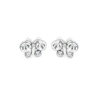 Elegant Butterfly Earrings with Silver Austrian Element Crystal