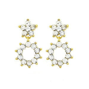 Enchanting Flowers Earrings with Silver Austrian Element Crystal