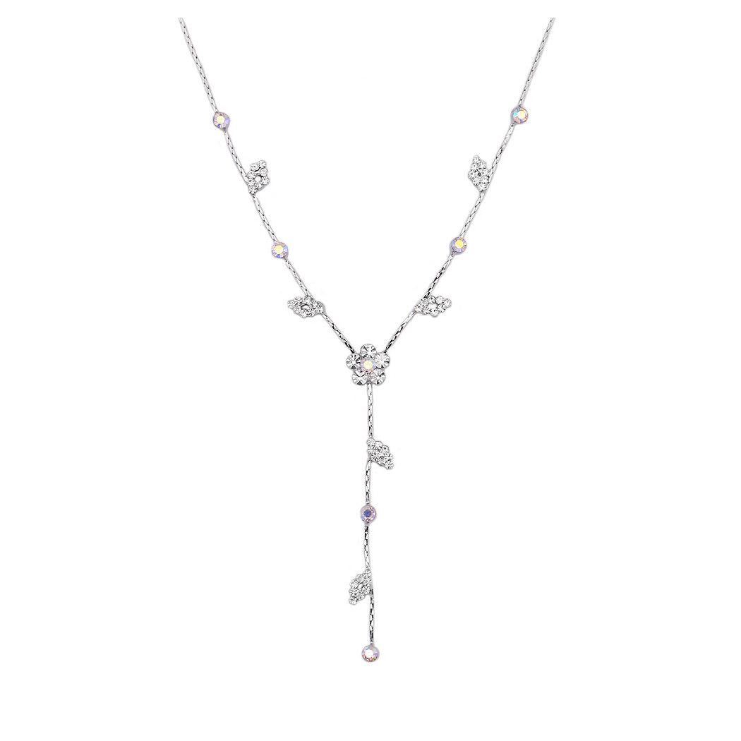 Enchanting Flower Necklace with Silver Austrian Element Crystal