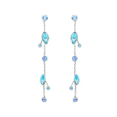 Fancy Earrings with Blue and Green Austrian Element Crystals