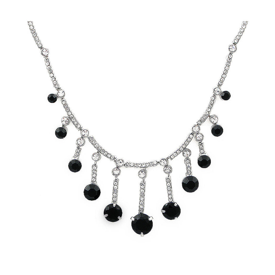 Graceful Tassel Necklace with Black and Silver Austrian Element Crystals