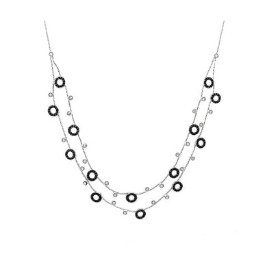 Glistening Round Necklace with Silver and Black Austrian Element Crystals