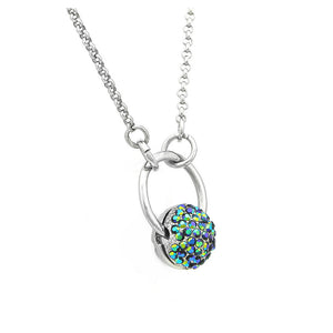 Spherical Necklace with Blue Austrian Element Crystal