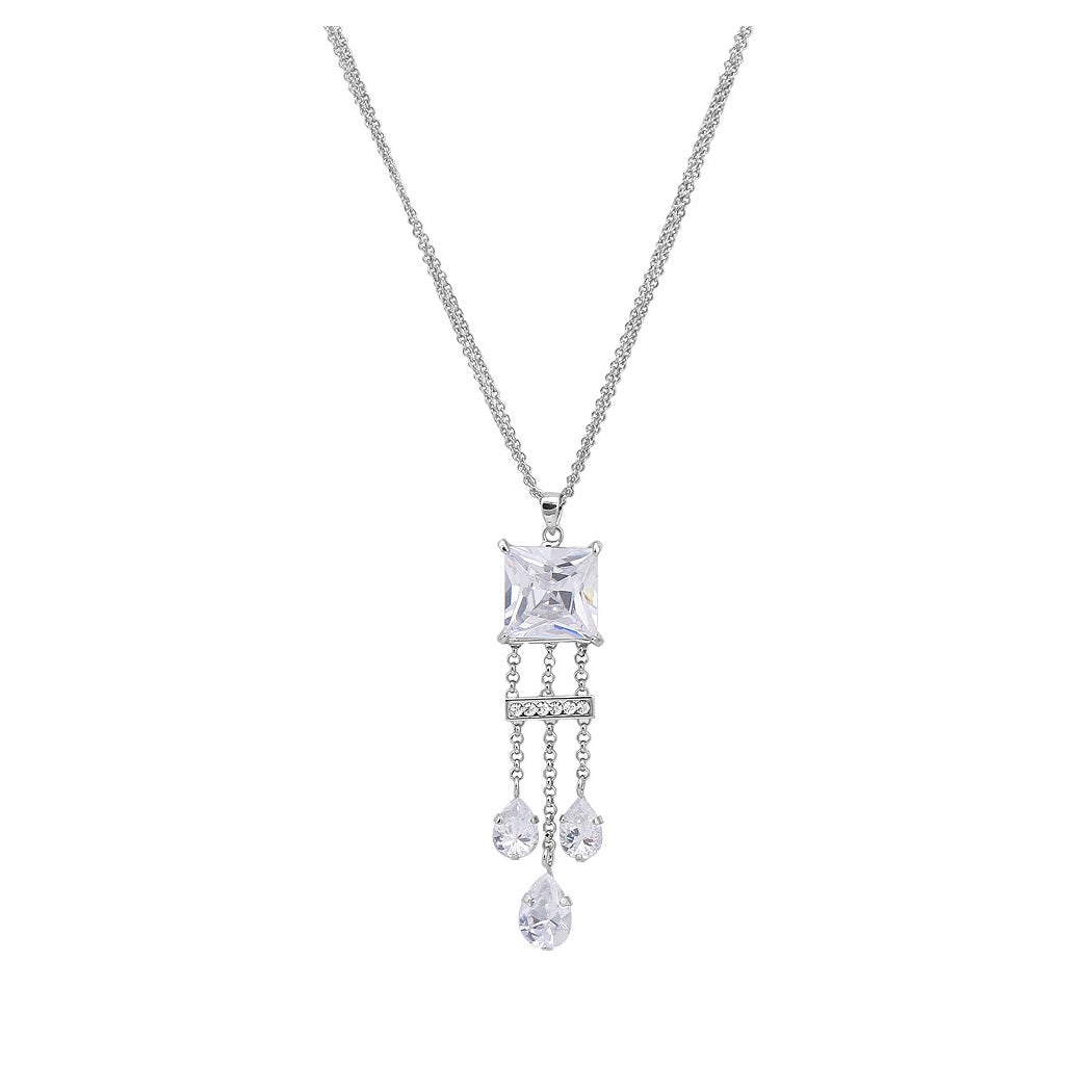 Chic Princess Cut Necklace with Silver Austrian Element Crystal