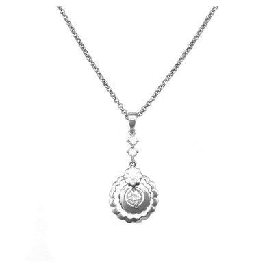 Simple Round Necklace with Silver Austrian Element Crystal
