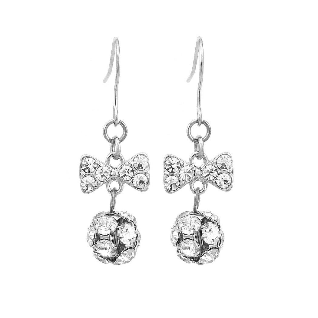 Cute Ribbon Earrings with Silver Austrian Element Crystals