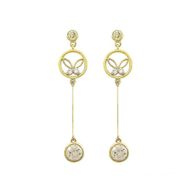 Graceful Butterfly Earrings with Silver and Yellow Austrian Element Crystals