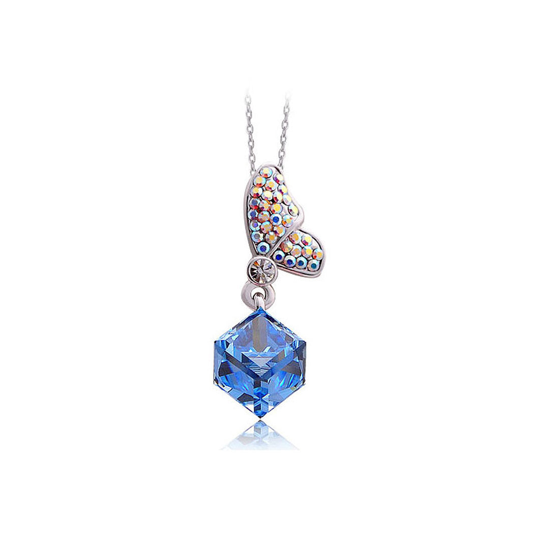 Butterfly Whisper Pendant with Blue and Silver Austrian Element Crystals