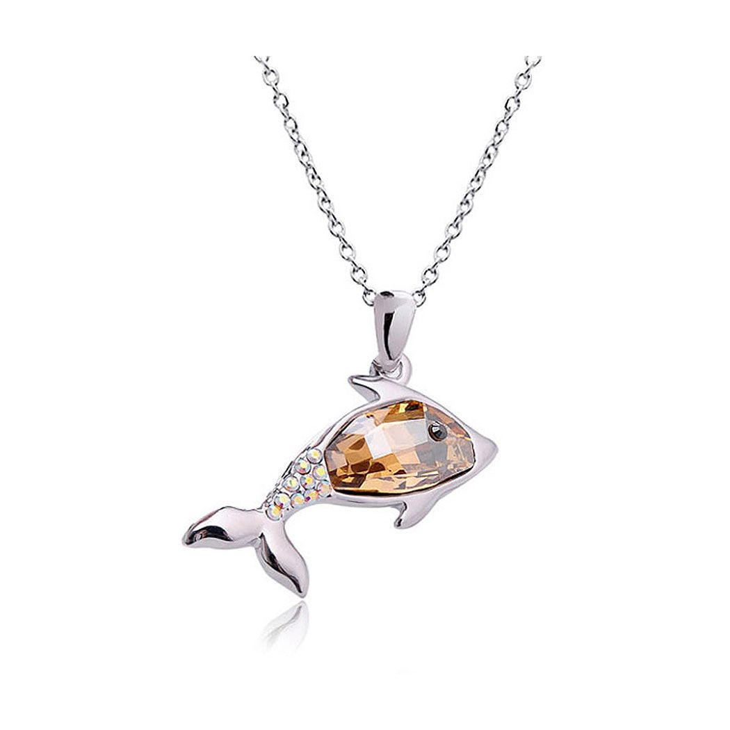 Lovely Dolphin Pendant with Golden and Silver Austrian Element Crystals
