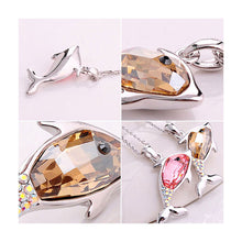 Load image into Gallery viewer, Lovely Dolphin Pendant with Golden and Silver Austrian Element Crystals