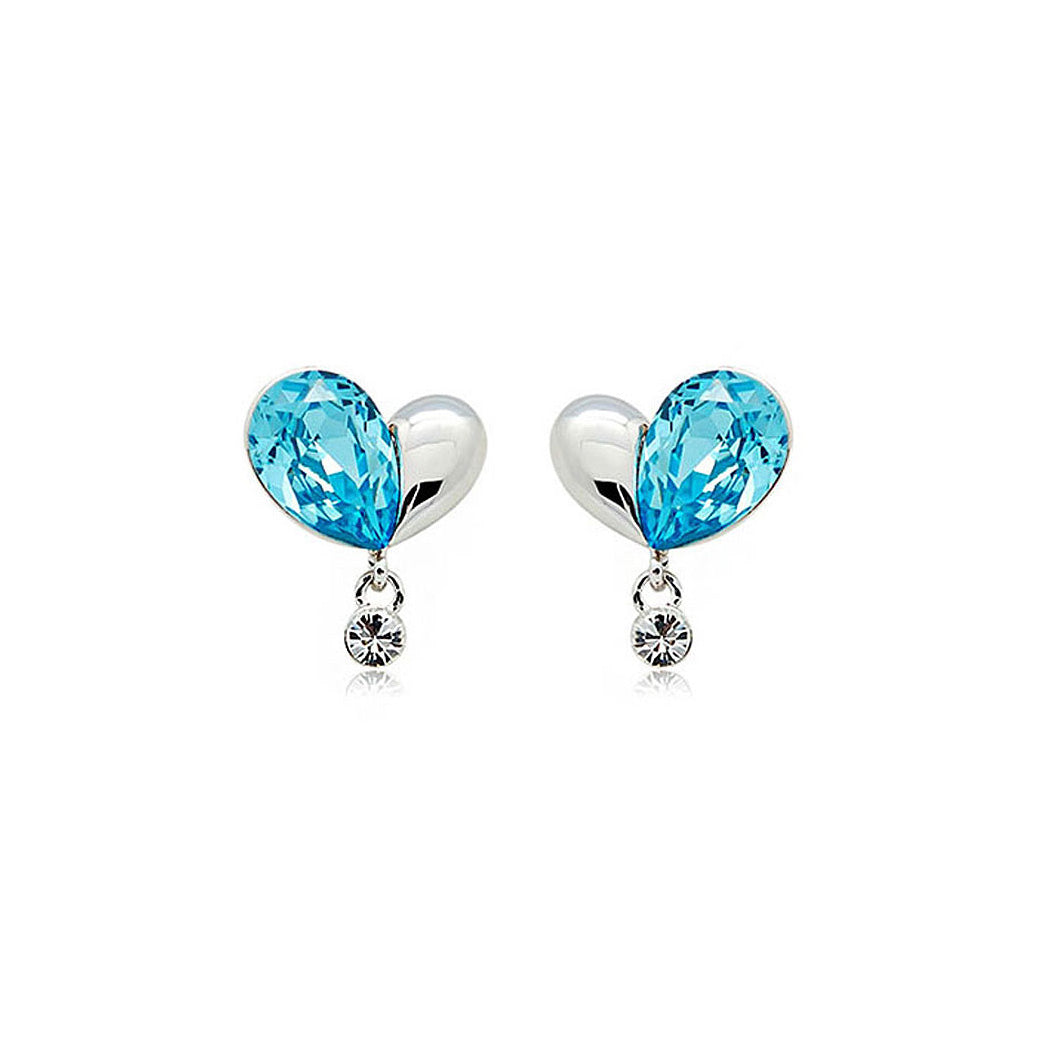 Refined Flowing Heart Earrings with Blue and Silver Swarvoski Crystals