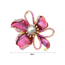 Load image into Gallery viewer, Flower Brooch with Pink Austrian Element Crystal and Brown Fashion Pearl