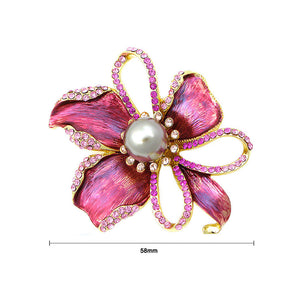 Flower Brooch with Pink Austrian Element Crystal and Brown Fashion Pearl