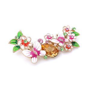 Dazzling Butterfly and Flower Brooch with Multi-color Austrian Element Crystals and Orange CZ