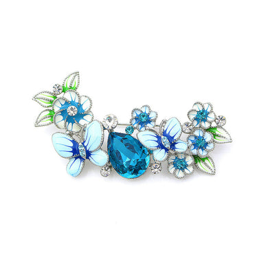 Dazzling Butterfly and Flower Brooch with Silver and Blue Austrian Element Crystals and Blue CZ