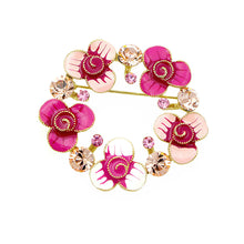 Load image into Gallery viewer, Dazzling Flower Brooch with Pink and Orange Austrian Element Crystals
