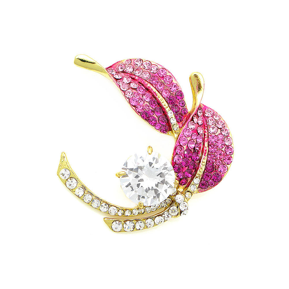 Leaf Brooch with Pink and Silver Austrian Element Crystals and Silver CZ