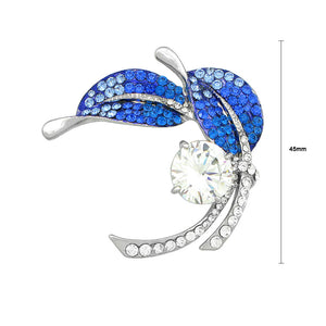 Leaf Brooch with Blue and Silver Austrian Element Crystals and Silver CZ
