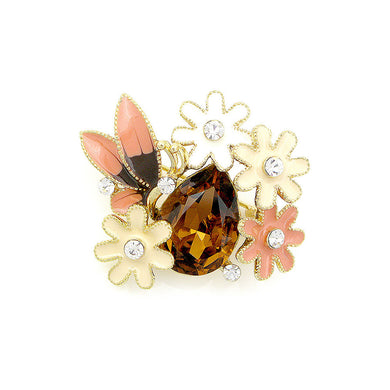 Dazzling Butterfly and Flower Brooch with Silver Austrian Element Crystal and Brown CZ