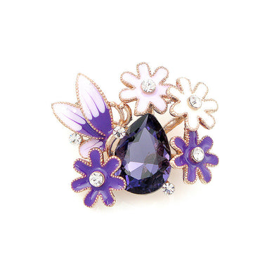 Dazzling Butterfly and Flower Brooch with Silver Austrian Element Crystal and Purple CZ