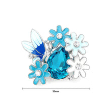 Load image into Gallery viewer, Dazzling Butterfly and Flower Brooch with Silver Austrian Element Crystal and Blue CZ
