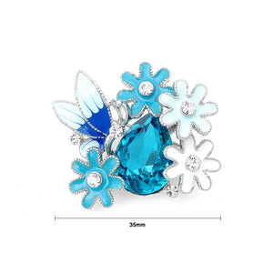 Dazzling Butterfly and Flower Brooch with Silver Austrian Element Crystal and Blue CZ