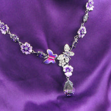Load image into Gallery viewer, Purple Flower and Butterfly Necklace with Purple and Silver Austrian Element Crystals