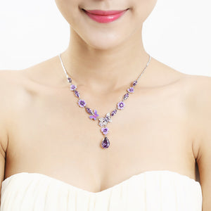 Purple Flower and Butterfly Necklace with Purple and Silver Austrian Element Crystals