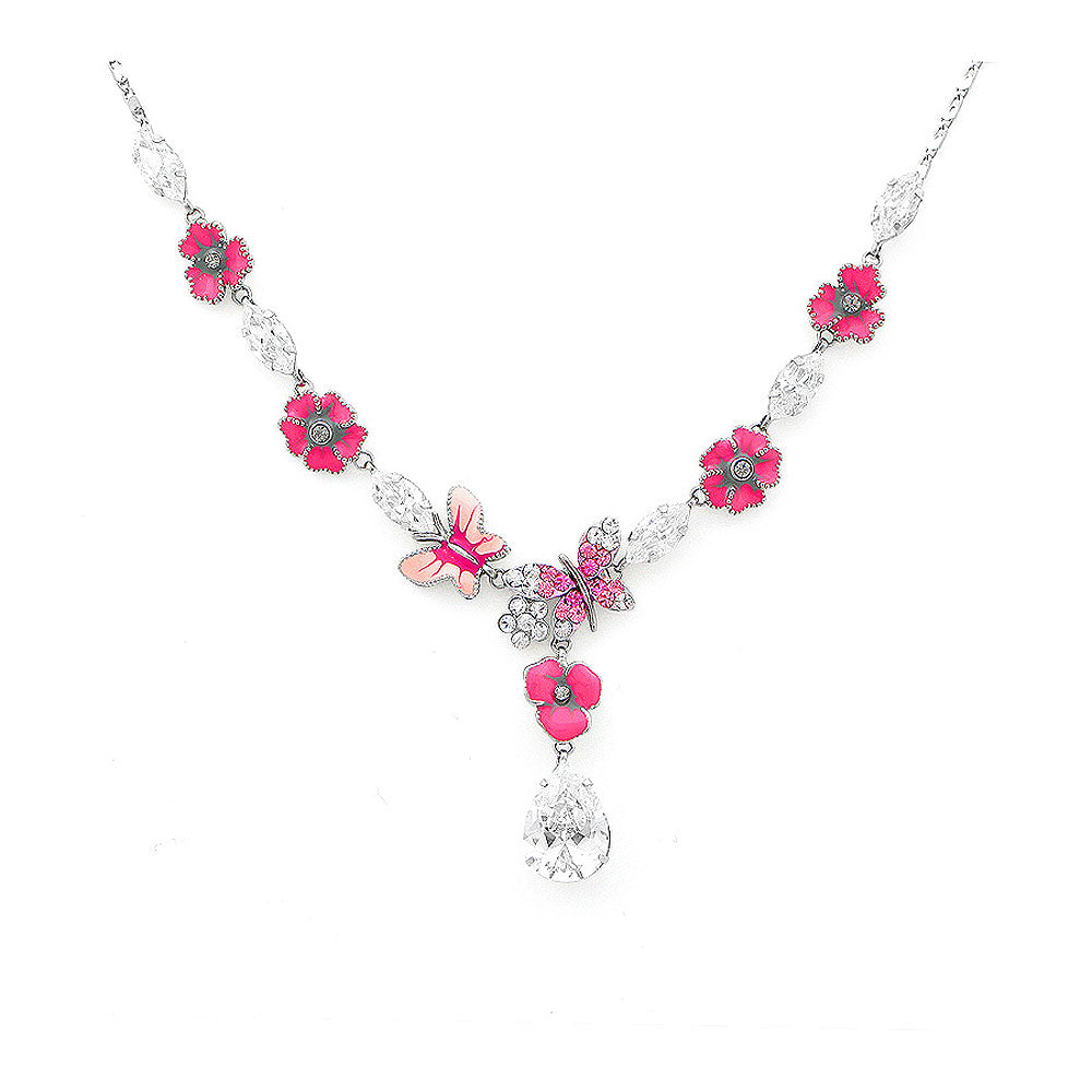 Pink Flower and Butterfly Necklace with Pink and Silver Austrian Element Crystals
