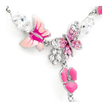 Load image into Gallery viewer, Pink Flower and Butterfly Necklace with Pink and Silver Austrian Element Crystals