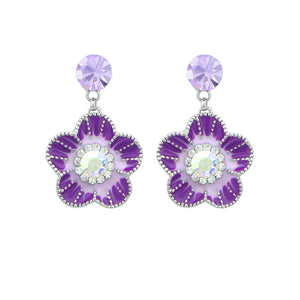 Purple Flower Earrings with Purple and Silver Austrian Element Crystals