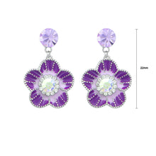 Load image into Gallery viewer, Purple Flower Earrings with Purple and Silver Austrian Element Crystals