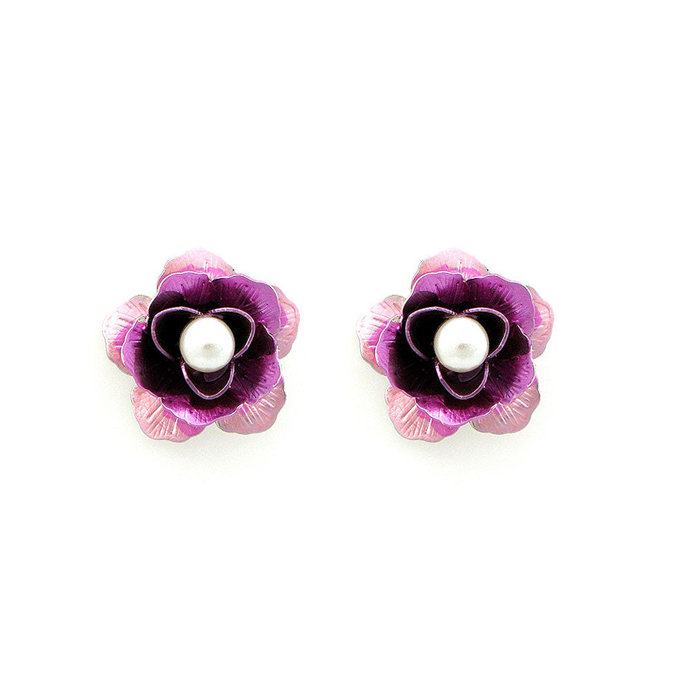 Pink Flower Earrings with White Fashion Pearl