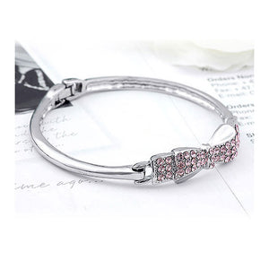 Enchanting Ribbon Bangle with Purple Austrian Element Crystal