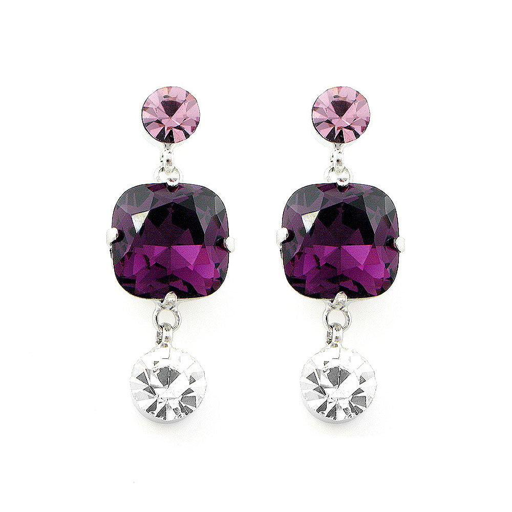 Elegant Pair Earrings with Purple and Silver Austrian Element Crystals
