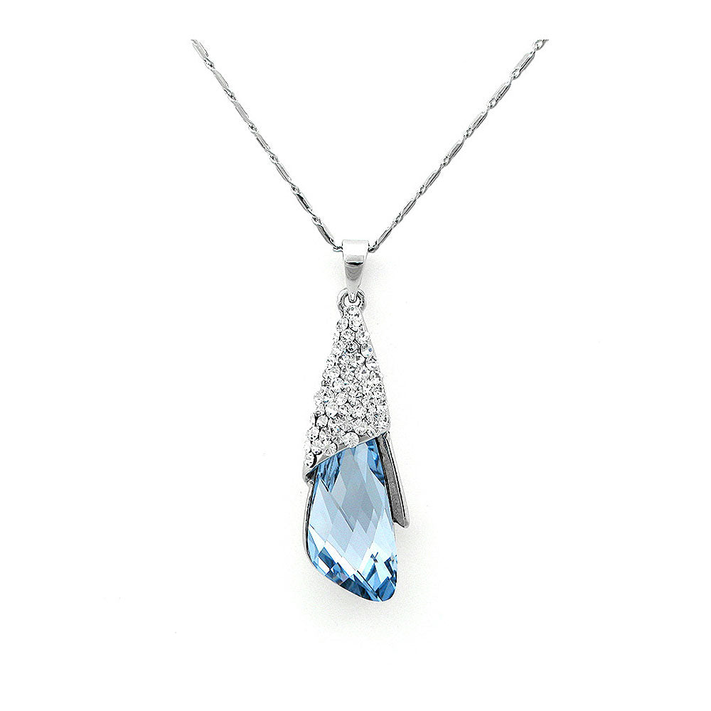 Enchanting Pendant with Silver and Blue Austrian Element Crystals