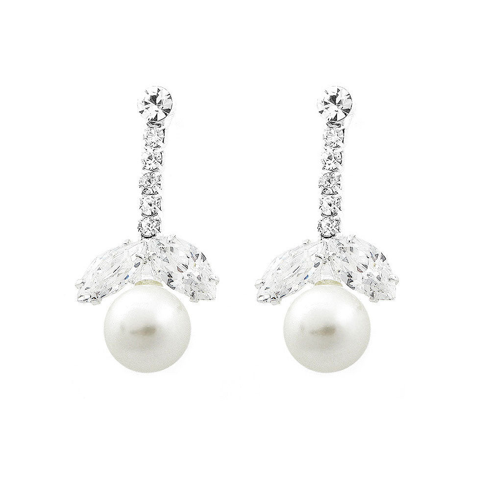Glimmering Fashion Pearl Earrings with Silver Austrian Element Crystal and CZ
