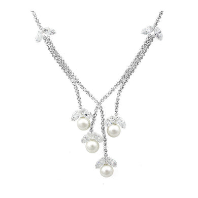 Glimmering Fashion Pearl Necklace with Silver Austrian Element Crystal and CZ