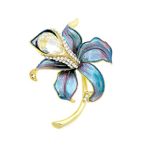 Blue Flower Brooch with Silver Austrian Element Crystal and CZ