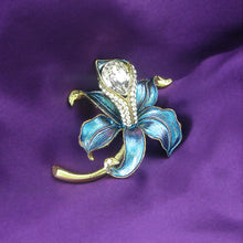 Load image into Gallery viewer, Blue Flower Brooch with Silver Austrian Element Crystal and CZ