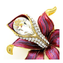 Load image into Gallery viewer, Flower Brooch with Silver Austrian Element Crystal and CZ