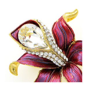 Flower Brooch with Silver Austrian Element Crystal and CZ