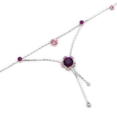 Flower Anklet with Purple Austrian Element Crystals