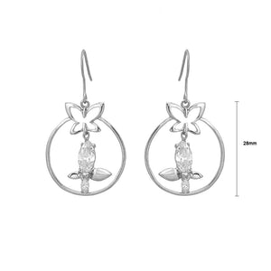Exquisite Butterfly Earrings with Silver Austrian Element Crystal