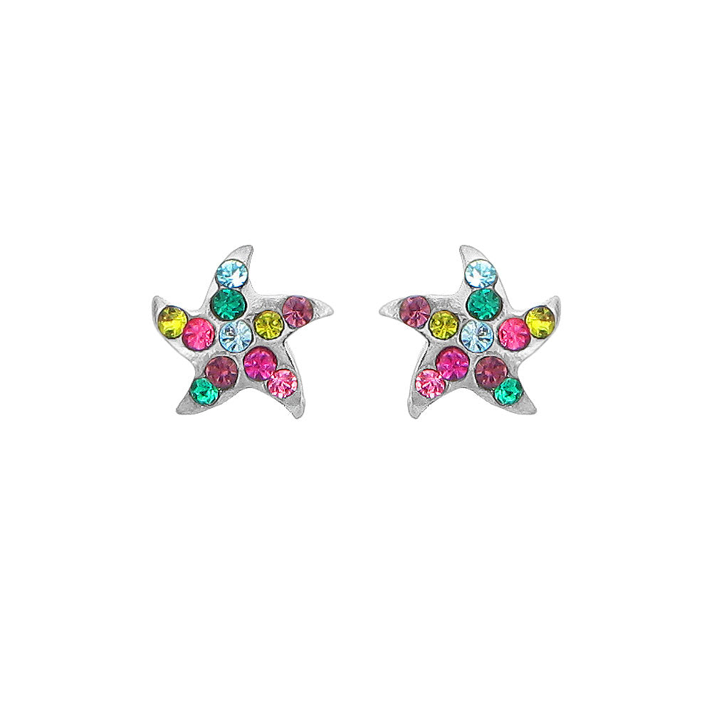 Exquisite Star Earrings with Multi-color Austrian Element Crystals