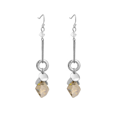 Glaring Earrings with Grey Austrian Element Crystal