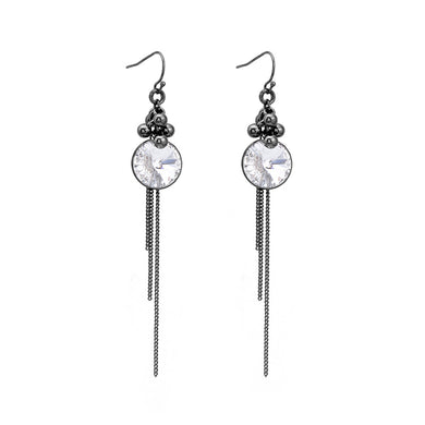 Glittering Earrings with Silver Austrian Element Crystal