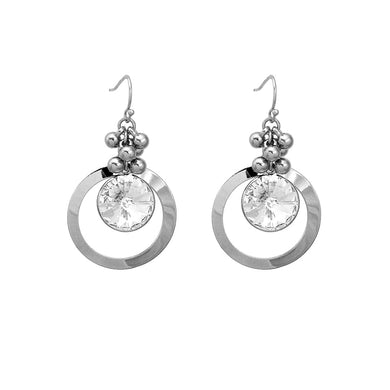 Glittering Round Earrings with Silver Austrian Element Crystal