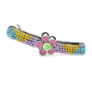 Dazzling Flower Hair Clip with Multi-colour Austrian Element Crystals