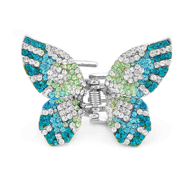 Charming Butterfly Clamp with Blue Green and Silver Austrian Element Crystals